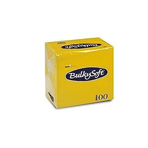 Bulky Soft BS-32590 Servietten 1/4 Falz, 2-lagig, 12 cm x 12 cm, Gelb (100-er Pack)
