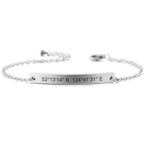 Imagen de memediy nombres de pulseras personalizadas para mujeres niñas regalos de dama de honor de enlace de tobillo ajustable de acero inoxidable pulseras de mejor amigo plata color  grabado personalizado