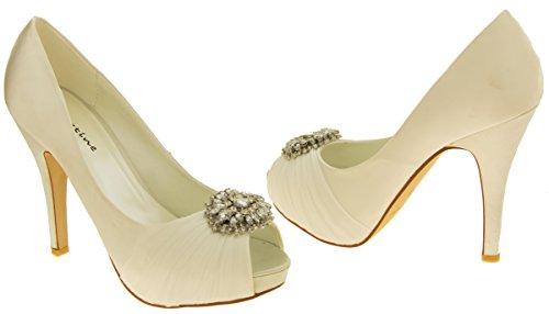 Femme SABATINE Satin diamante cluster nuptiale chaussures de mariage Ivoire