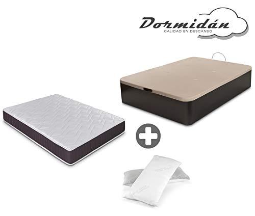 Dormidán - Pack de canapé abatible de Gran Capacidad + colchón viscoelástico + Almohada visco Copos de Regalo (150_x_190_cm, Wengué)
