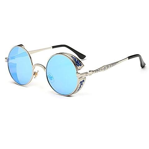 LHWY Femmes hommes été Vintage Retro lunettes de soleil ronde lunettes de soleil lunettes aviateur miroir lentille (Or, Bleu)