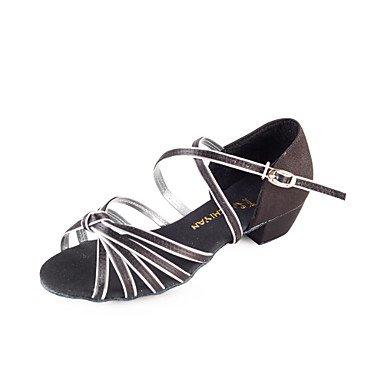 Silence @ Femme/enfants Chaussures de danse latine/salle de bal en satin Chunky Talon Doré/blanc doré