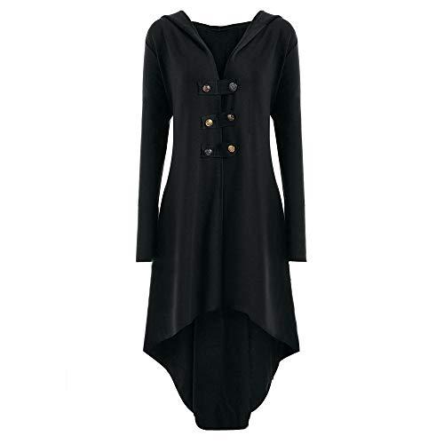Preisvergleich Produktbild Luckycat Damen Casual Button Steampunk Mit Kapuze Trenchcoat Jacke Blazer Tops Outwear Jacken Mäntel Sweatjacke Winterjacke Fleecejacke Steppjacke