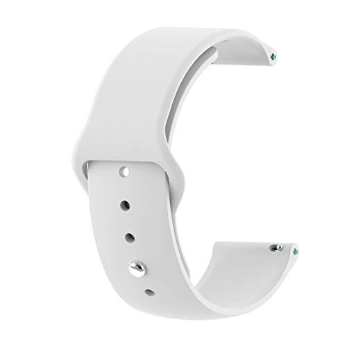 squarex Mode Sport atmungsaktiv einfarbig silikon Sport ersatz Armband handschlaufe für Huawei Watch gt smart Watch 22mm (Weiß) - Nylon-loop-uhr-band 22mm