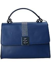 Bolsa mujer de mano con bandolera PIERRE CARDIN azul en cuero Made in Italy N990