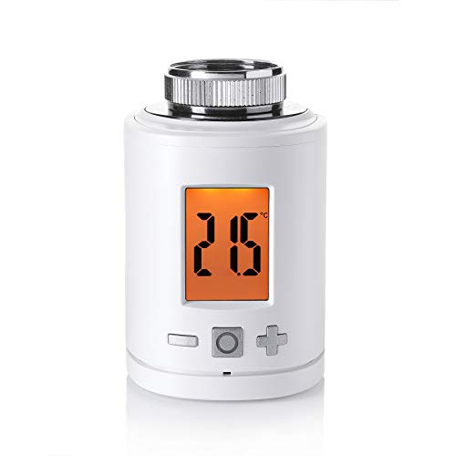Eurotronic Spirit ZigBee Heizkörperthermostat, bis 30 % Heizkosten sparen, über ZigBee Funk & Alexa Echo Plus + Echo Show steuerbar, Heizungsthermostat inkl. Adapter + Batterien, Smarthome-Zubehör