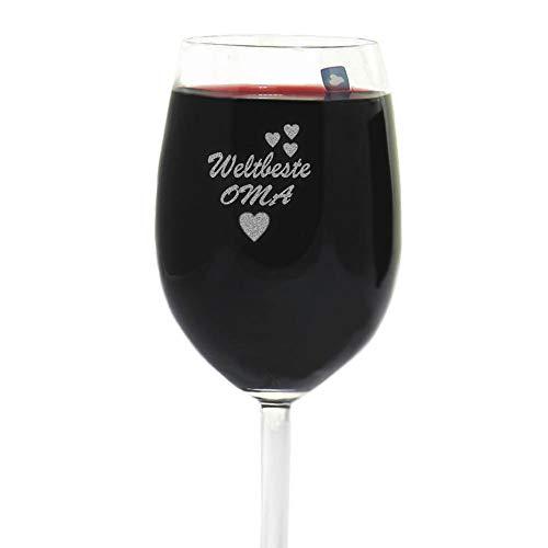 van Hoogen Leonardo Weinglas Weltbeste Oma | mit Gravur | Geschenk für Oma | Oma Geburtstag | 365ml Premiumglas Rotwein Weißwein | Beste Oma