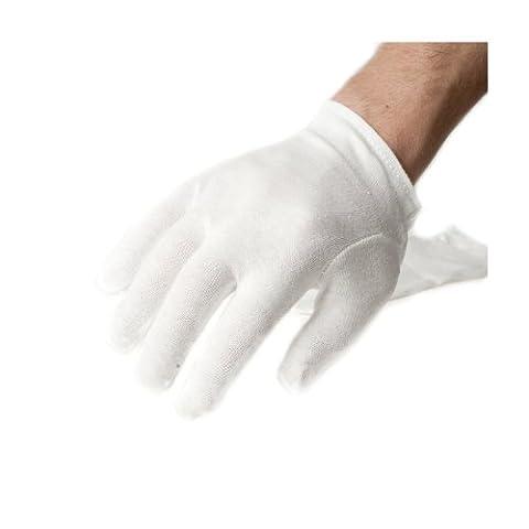 Incutex 4 paires de gants de tissu en coton, blancs, taille M