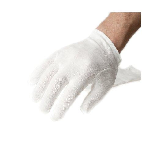 Incutex 2 Paar Baumwollhandschuhe Handschuhe Baumwolle Trikot Handschuhe cotton gloves feuchtigkeitsspendende Handschuhe, Größe M, weiß (Baumwoll-handschuh)