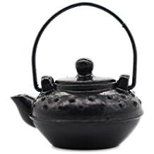 FOOBRTOPOO Diseño Unico Ornamento Lindo Miniatura del Paisaje del Arte de la Tetera Linda para la decoración del jardín casero (Negro)