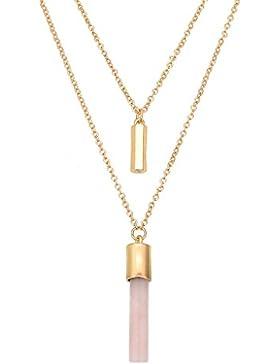 Frauen Natur Bar-Stein-hängende Gold-Ton-multi Strang geschichteten Halskette
