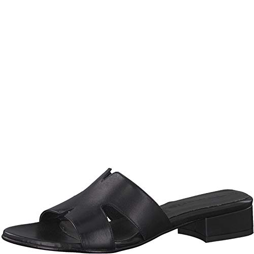 Tamaris 1-1-27123-22 Damen Pantoletten,Pantolette,Hausschuh,Pantoffel,Slipper,Slides,Touch-IT,Black Leather,40 EU - 003 Leder