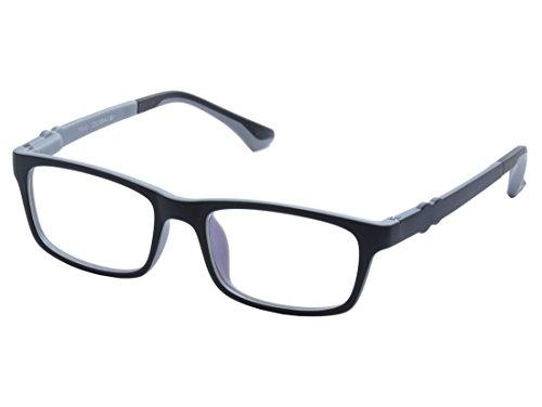 DEDING Kinder optische Brillenfassung mit Federscharnier (Schwarz Grau)