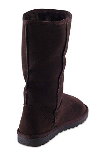 Damenschuhe Mädchen Winter Pelz Warm gefütterte Schnee Stiefel Stiefeletten Schlupfstiefel mit Srtass Dekor Coffee