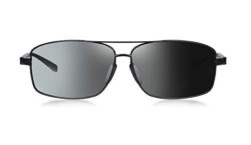 WHCREAT Herren Photochrome Polarisierte Sonnenbrille Al-Mg-Metallgestell mit Federscharnieren für Sport Autofahren - Schwarzer Rahmen