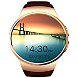 Inteligente Reloj IOS Compatible Hay Sala De Fitness Rastreador Intencional MP3, MP4, AVI Local Lectura Inteligente Reloj Bluetooth 1.3 Pulgadas De Sharp Ronda IPS Ajuste Pantalla Completa Pure - Mujer Hombre Smartphone Práctico [Gold] Modelo KWM-J18