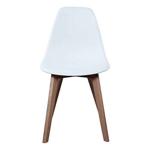 Schalenstuhl Copenhagen mit Holzbeinen Schalensessel Stuhl Kuststoff Weiß Designerstuhl -