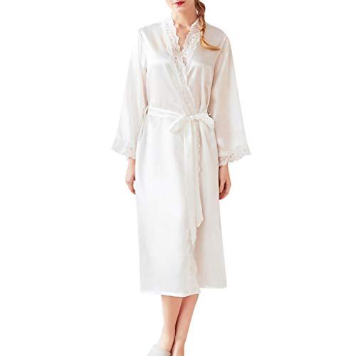 Damen Sexy Pyjamas FGHYH Frauen Sommer Dessous Spitze Robe Tuch Babydoll Nachthemd Nachtwäsche Mantel(XL, Weiß) (Pyjama-hose Snap)