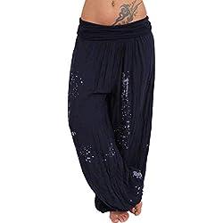 Aladin Pantalon Sarouel Femme Grande Taille Court POPLY Sarouel Femme Noir Chic Pas Cher Pantalon Fluide Femme Mousseline Pantalon Femme Taille Haute Blanc Jean Pantacourt Femme Ete Harem Yoga Mat