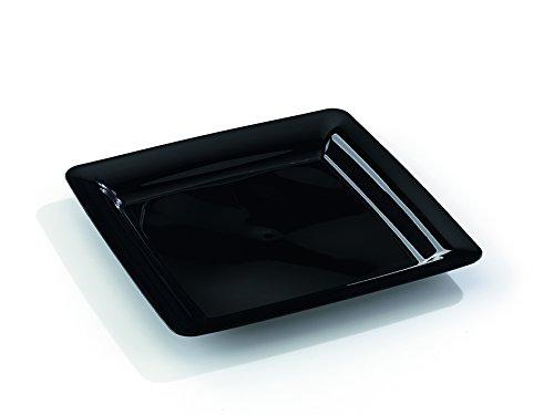 MOZAIK 20 platos cuadrados de plástico de 23cm en color negro