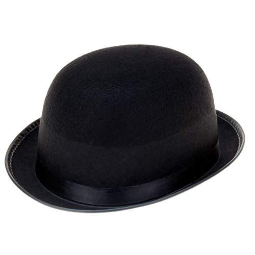 GYD Filzhut Bowler schwarz Hut-Melone Schwarz Erwachsenenhut Antoine, Einheitsgröße, schwarz