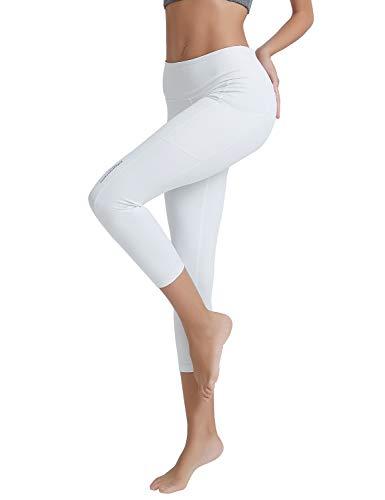 COOLOMG Damen Shorts Leggings Caprihose Yoga Sport Training Fitness mit Taschen ,Weiß  (capri),S (Capri Weiße Yoga-hose)