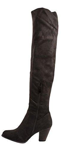 Elara Damen Stiefel | Klassischer Overknee Stiefel | Langschaft Blockabsatz Wildlederoptik Schwarz