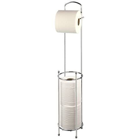 New Free Standing Toilet Roll Holder Chrome Paper Tissue Storage Dispenser Stand Shopmonk by zizzi