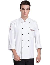 Dooxii Unisex Donna Uomo Autunno Inverno Manica Lunga Giacca da Chef  Professionale Torta di Cottura Hotel Mensa… 87d59cbdd321