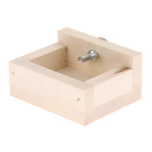B Blesiya Kleintier Futternapf Fressnapf Holz Fütterung Schüssel für Hamster, Mäuse, Meerschweinchen, Ratten, Chinchilla, usw. - Quadrat