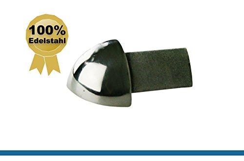 1 x FUCHS Außenecke für 9 mm Fliesenschiene Viertelkreisprofil – Edelstahl V2A Glänzend