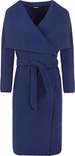 WearAll - Lange Gürtel Taschen öffnen Coat Damen Promi Wasserfall Jacke Cape - 2 Farben - Größen 36-42 Königsblau