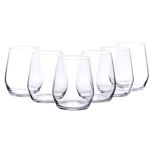 Bormioli Wasserglas Set 'Electra' 6 teilig   Gastronomiequalität   Füllmenge Trinkglas 38 cl   Höhe 10 cm   Perfekte Brillianz Dank Star Glass Technologie