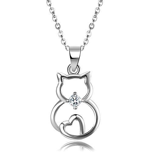 Aroncent Kette Damen Herz Katze Halskette Anhänger 925 Sterling Silber Zirkonia Katze Schmuck Frau Mädchen