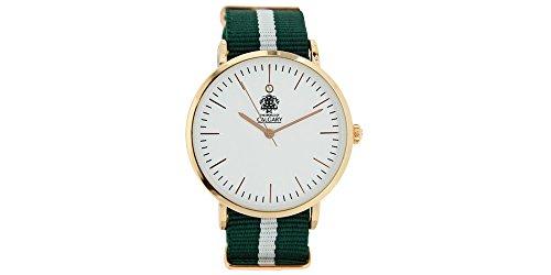 Relojes Calgary San Marine Montre vintage pour femme en tissu Vert et blanc Cadran blanc