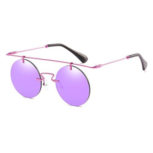 Juleya Frauen Männer Runde Sonnenbrille Klassische Doppel-Brücke Metallfarben UV400 C6