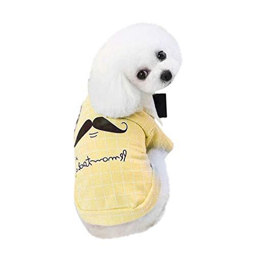 LOSVIP Haustier Frühling Sommer 2019,Brille Schnurrbart Weste Hund Kostüme Hund Haustier Kleidung Weste(Gelb,S)