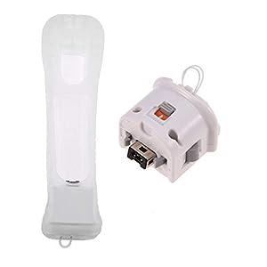 Zerone 2 PCS Motion Plus Adapter mit Silikonhülle für Wii Remote Controller Externer Remote Motion Plus Sensor Zubehör für Nintendo Wii Wii U Fernbedienung (Weiß)