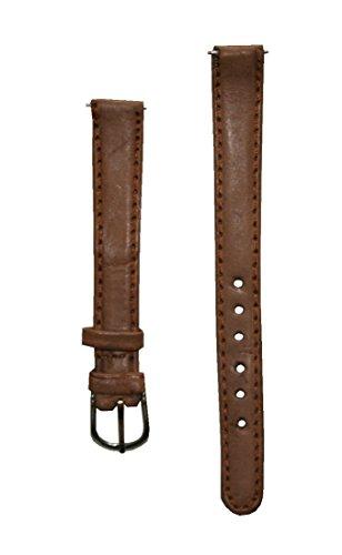 Preisvergleich Produktbild Uhrenarmband Damen Leder 12 mm mit 2 Federstegen Hellbraun (0005)