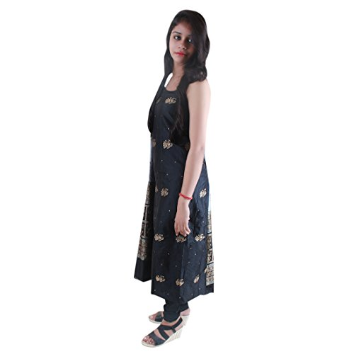 kadambini saree Sambalpuri handwoven Pure Silk Unstitched salwar kameez dress material (Black...