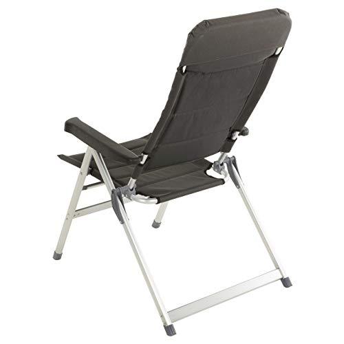 Nexos 2er Set Premium Klappstuhl Relax-Stuhl Campingstuhl Klappsessel – für Garten Terrasse Balkon – klappbarer Gartenstuhl gepolstert Alu – schwarz grau