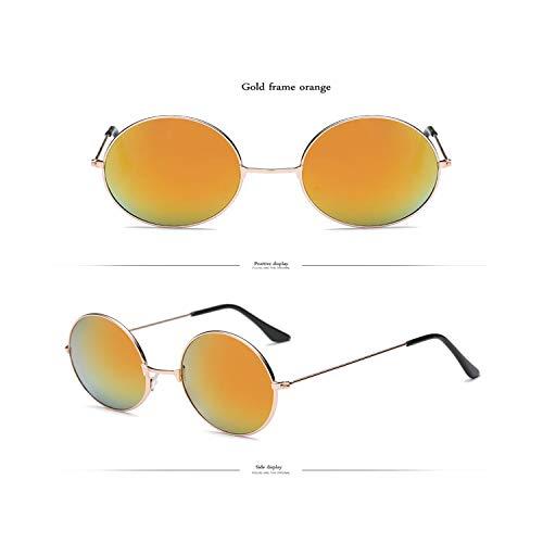 FGRYGF-eyewear2 Sport-Sonnenbrillen, Vintage Sonnenbrillen, NEW Rainbow Round KUNSTSTOFF Sunglasses Women Candy Farbe Classic Retro Sun Glasses Men Lunette De Soleil Femme gold orange