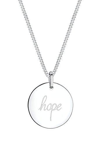 Elli Damen Schmuck Halskette Kette mit Anhänger Hoffnung Hope Schriftzug Wording Silber 925 Länge 45 cm