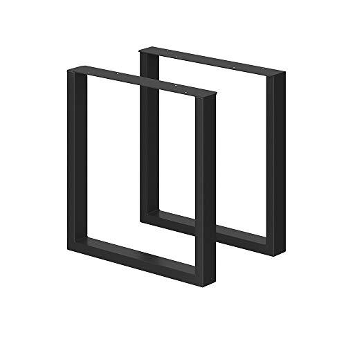 VICCO LOFT Tischbeine 2er Set Tischkufen Schwarz Klarlack pulverbeschichtet (72x70, schwarz pulverbeschichtet)
