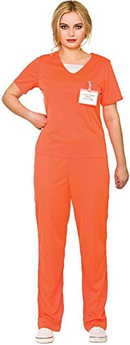 Adult's Women's Orange Convict Prisoner Shirt & Trousers Fancy Dress - Womens Orange Gefangener Kostüm