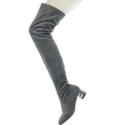 Blocco Scarpa 4 Grigio Gioielli Donna Flessibile Alto Coscia Cm Di 5 Modo Angkorly Tacco vqX8Z8