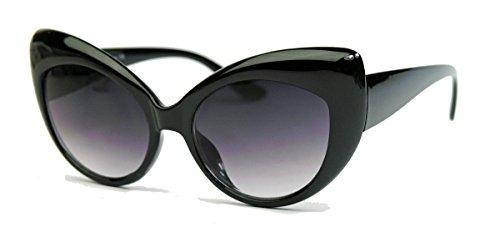Bold Frame Cat Eyes : Retro Sonnenbrille für Damen im 50er 60er Jahre Cateye Stil C72 (Schwarz)