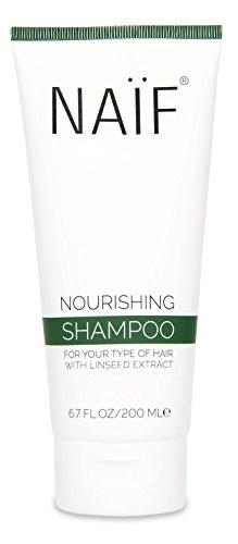 NAÏF Nährendes Shampoo - natürliche Formel mit Leinsamenöl, ohne Sulfate und aggressive Chemikalien, 200 ml (Shampoo Formel Natürliche)