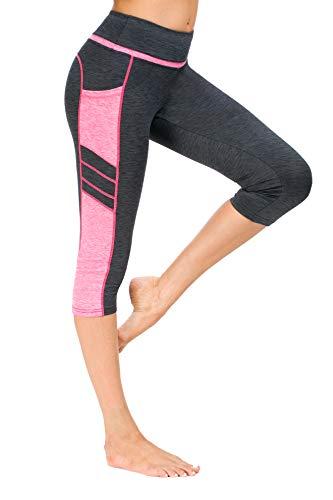 Flatik Damen Netzoberfläche Sport Gym Yoga Laufen Fitness Leggings Hose, Grau Pink(3/4 Capri), S -