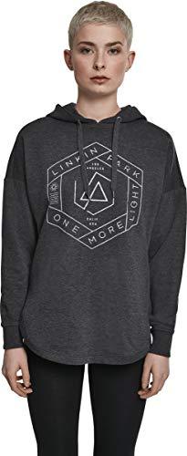 MERCHCODE Damen Linkin Park Kapuzenpullover OML Oversize Hoody mit Band-Logo-Print, Charcoal, S Hoodie Parka